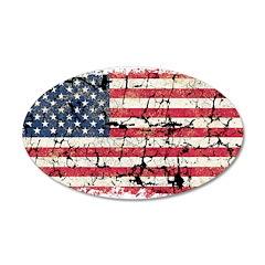 US Flag Distressed 38.5 x 24.5 Oval Wall Peel