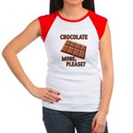 Chocolate - More Please? Women's Cap Sleeve T-Shir