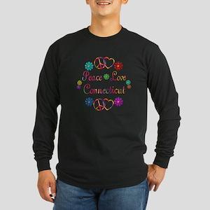 Peace Love Connecticut Long Sleeve Dark T-Shirt