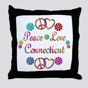 Peace Love Connecticut Throw Pillow