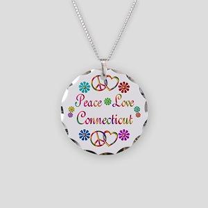 Peace Love Connecticut Necklace Circle Charm