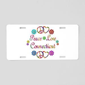 Peace Love Connecticut Aluminum License Plate