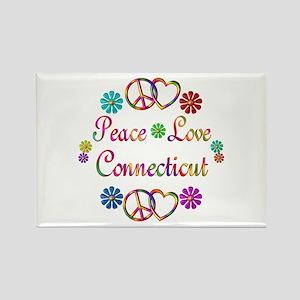 Peace Love Connecticut Rectangle Magnet