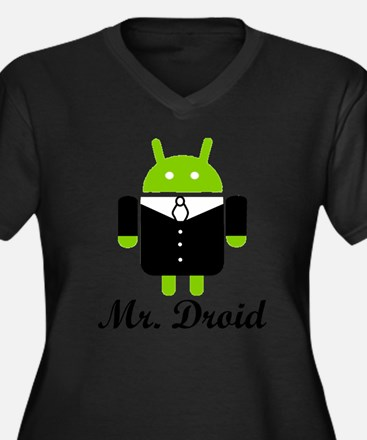 Funny Droid Women's Plus Size V-Neck Dark T-Shirt