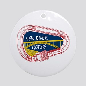 New River Gorge Climbing Carabiner Round Ornament