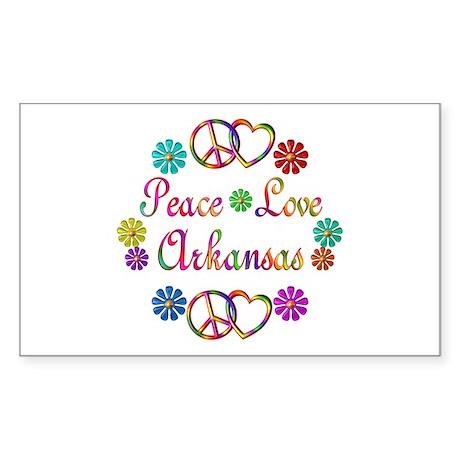 Peace Love Arkansas Sticker (Rectangle)