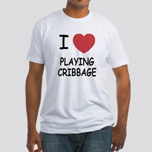 I heart playing cribbage Fitted T-Shirt