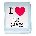 I heart pub games baby blanket