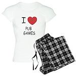 I heart pub games Women's Light Pajamas