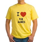 I heart pub games Yellow T-Shirt