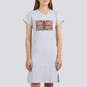 UK Flag with Keep Calm and Ca Women's Nightshirt