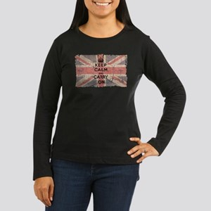 UK Flag with Keep Calm and Ca Women's Long Sleeve