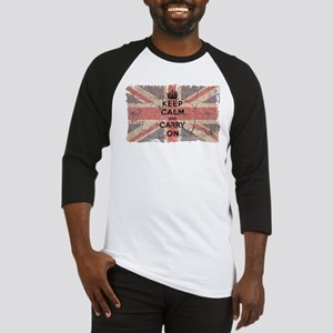 UK Flag with Keep Calm and Ca Baseball Jersey