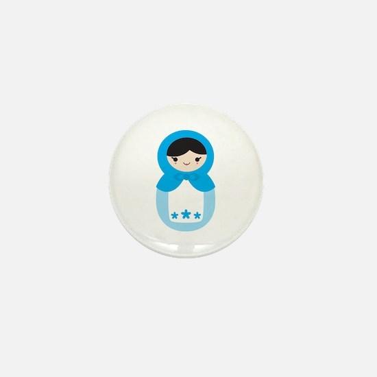 Matryoshka - Blue Mini Button