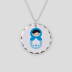 Matryoshka - Blue Necklace Circle Charm