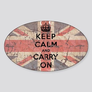 UK Flag with Keep Calm and Ca Sticker (Oval)