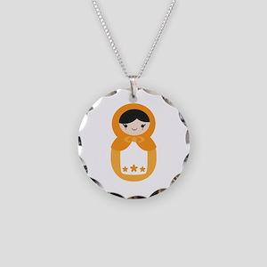 Matryoshka - Orange Necklace Circle Charm