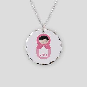 Matryoshka - Pink Necklace Circle Charm