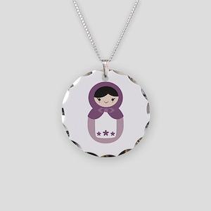 Matryoshka - Purple Necklace Circle Charm