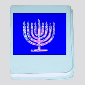 Hanukkah Menorah Blue Gift New Baby Blanket