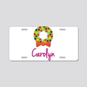 Christmas Wreath Carolyn Aluminum License Plate