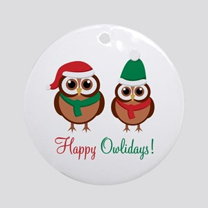 """Happy Owlidays"" Ornament (Round)"