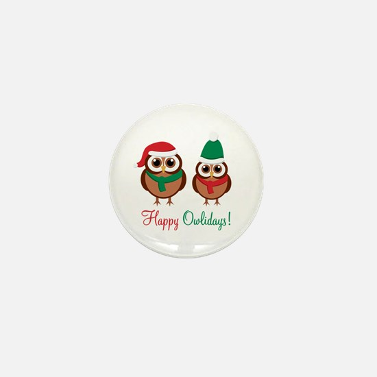 """Happy Owlidays"" Mini Button"