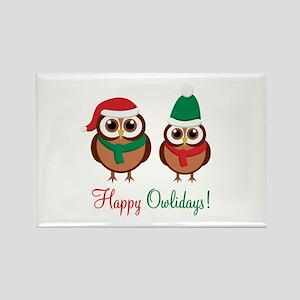 """Happy Owlidays"" Rectangle Magnet"