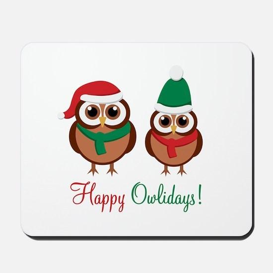 """Happy Owlidays"" Mousepad"