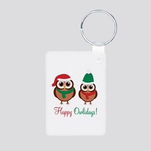 """Happy Owlidays"" Aluminum Photo Keychain"