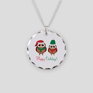 """Happy Owlidays"" Necklace Circle Charm"