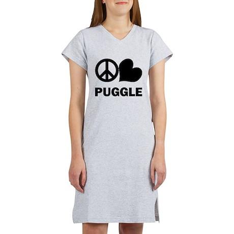 Peace Love Puggle Women's Nightshirt