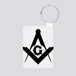 Outline Square and Compass Aluminum Photo Keychain
