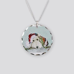 Fox Terrier Christmas Necklace Circle Charm