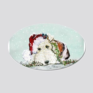 Fox Terrier Christmas 22x14 Oval Wall Peel