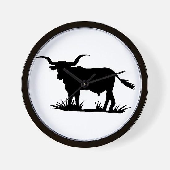 Texas Longhorn Silhouette Wall Clock