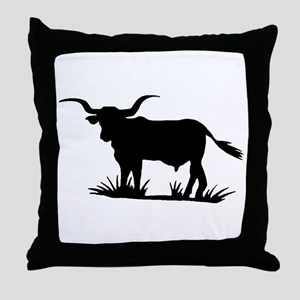 Texas Longhorn Silhouette Throw Pillow