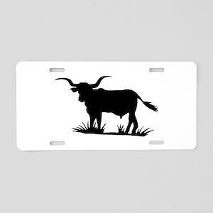 Texas Longhorn Silhouette Aluminum License Plate