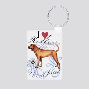 Redbone Coonhound Aluminum Photo Keychain