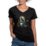 DragonGuitar(S) Women's V-Neck Dark T-Shirt