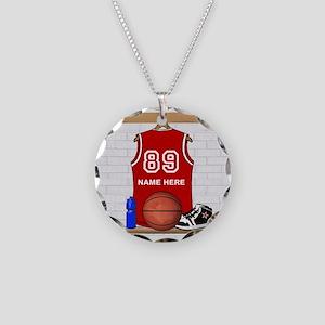 Personalized Basketball Jerse Necklace Circle Char