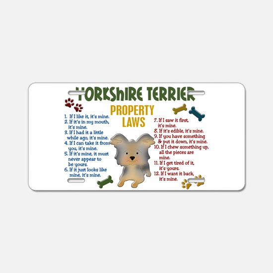 Yorkshire Terrier Property Laws 4 Aluminum License