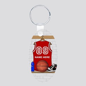 Personalized Basketball Jerse Aluminum Oval Keycha