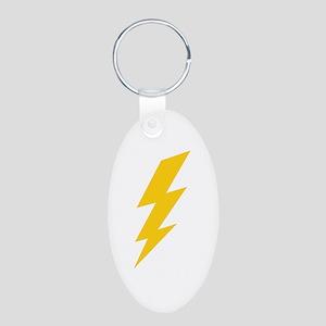 Yellow Thunderbolt Aluminum Oval Keychain