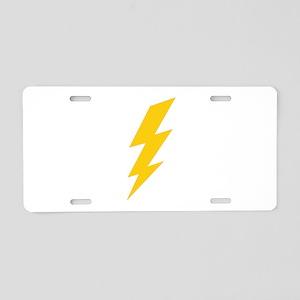 Yellow Thunderbolt Aluminum License Plate