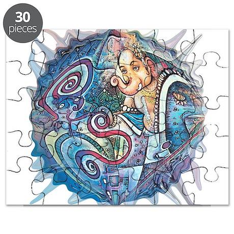 blue ganesh bubble white Puzzle