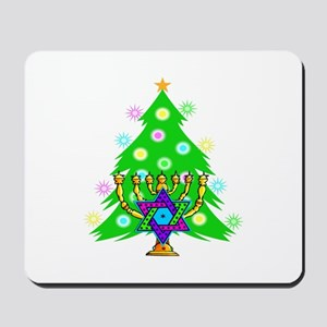 Hanukkah and Christmas Families Mousepad