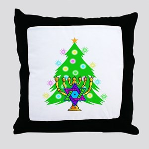 Hanukkah and Christmas Families Throw Pillow