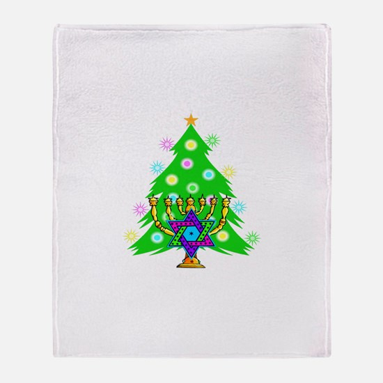 Hanukkah and Christmas Families Throw Blanket