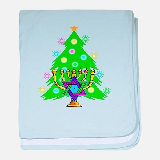 Hanukkah and Christmas Families baby blanket